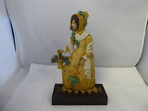 Bradley Hubbard Cast Iron Door Stop Old Woman Basket Of Flowers