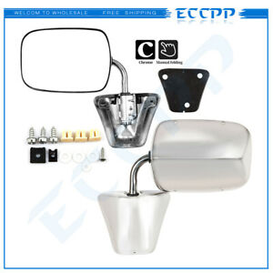 L r For Chevy Blazer gmc Jimmy Pickup Chrome Manual Side View Door Mirrors Pair