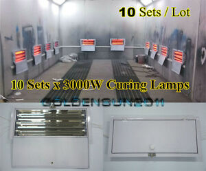 3kw Spray Baking Booth Infrared Paint Curing Lamps Heaters Heating Lights 10sets