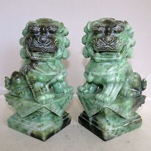 7 3 Pair Of Chinese Carved Green Celadon Jadeite Jade Foo Dogs 10 Pounds