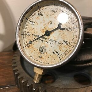 rare 1919 National Gauge Kellogg Mfg Pressure Gauge Steampunk Steam Industrial