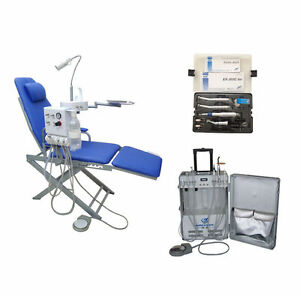 Dental Chair Portable Unit With Air Compressor High Low Speed Handpiece 2h