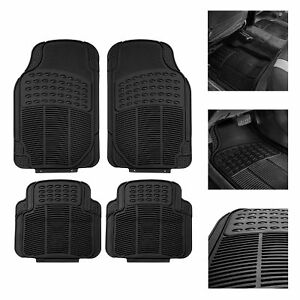 Car Floor Mats For All Weather Rubber 4pc Set Tactical Fit Heavy Duty Black