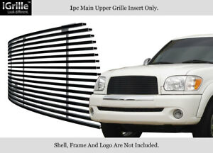 Fits 2003 2006 Toyota Tundra Stainless Steel Black Upper Billet Grille