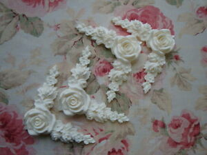 New Shabby Chic Large Rose Floral Corner Spandrels 4pc Furniture Applique