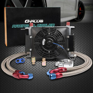 25 Row An 10an Engine Transmission Oil Cooler 7 12v Electric Fan Kit