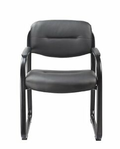 Office Factor Black Vinyl Guest Chair Side Visitors Waiting Room Reception Sl