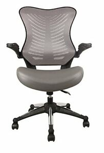 Office Factor Executive Ergonomic Office Chair Gray Back Mesh Bonded Leather