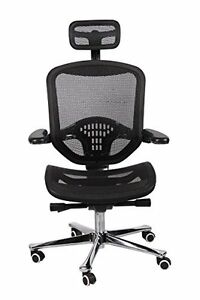 Office Factor Ergonomic Executive Mesh Chair High Back Aluminum Frame S