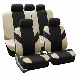 Beige Black Flat Cloth Seat Covers For Car Suv Auto Split Bench