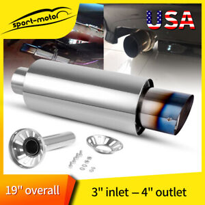 3 Inlet Muffler Exhaust Silencer Racing 4 Burnt Tip Round Stainless Steel