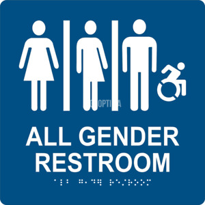Ada All Gender Restroom Sign With Braille 8 x8 1 8 Acrylic