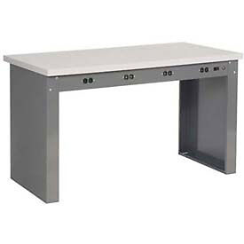 72 w X 36 d Panel Leg Workbench With Power Apron And Shop Top Square Edge Top