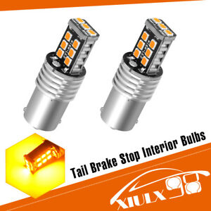 2x Amber Yellow 1156 Ba15s High Power 15w 2835 Car Led Interior Light Bulb 4300k