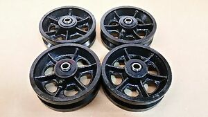 6 X 2 V grooved Steel Wheel Set Of 4 1 200 Lbs Capacity ea