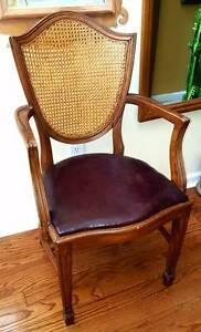 Arm Chair French Cane Back Hand Carved Mahogany Wood Antique Accent Covered Seat