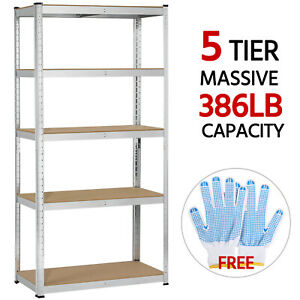 5 Tier Storage Rack Utility Storage Shelves Metal Shelving Units Adjustable 71 h