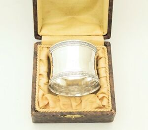 Early 19th Century Fabulous Antique French Sterling Silver Napkin Ring 950 W Box