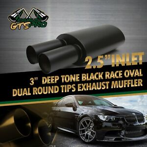 1x High Performance Usa Na Deep Loud Race Oval Exhaust Muffler Dual Round Tips