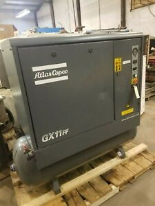 Used 15 hp Atlas Copco Gx11 ff tm Rotary Air Compressor With Dryer tank housing