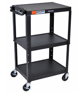 Rolling Metal A v Cart Adjustable Height 3 Shelves Black New