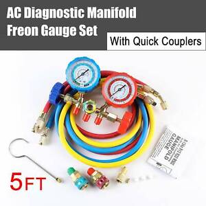 4 valve R410a R22 R134a Manifold Gauge Set Quick Coupler 5ft Hose Ac Adapter Dmg