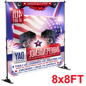 8 x8 Banner Stand Adjustable Telescopic Backdrop Display Trade Show Booth Wall