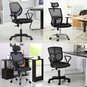Ergonomic Mesh Computer Office Chair Desk Task Midback Task Black W Padded Base