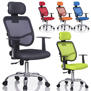 New Mesh Swivel Back Office Ergonomic Computer Chair W Adjustable Head Rest