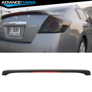 Matte Black Fits 07 12 Nissan Altima 4dr Sedan Oe Trunk Spoiler Led Brake Light