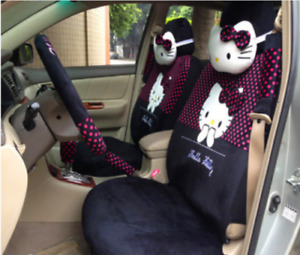 2019 New Cute 10 Pcs Hello Kitty Universal Polka Dot Car Seat Covers