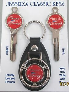 Red Dodge Charger Deluxe Classic White Gold Key Set Keys 1966 1967 1968 1969