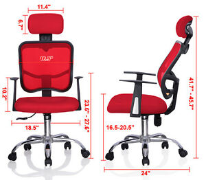Red Adjustable Mesh Task Computer Desk Office Chair High Back W Headrest Swivel