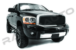 06 08 Dodge Ram Truck Gloss Black Front Mesh Grille Replacement Chrome Shell