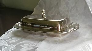 Wm A Rogers Vintage Silverplate Butter Dish Glass Liner Evc