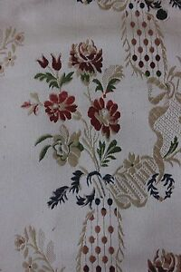 Antique Early 20thc French Lyon Silk Brocaded Lampas Fabric Roses