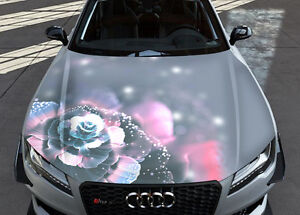 Abstract Flower Grey Car Hood Wrap Full Color Vinyl Sticker Decal Fit Any Car