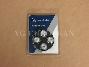 Mercedes Benz Genuine Tire Valve Steam Cap Set Black Amg On Silver Caps Oem