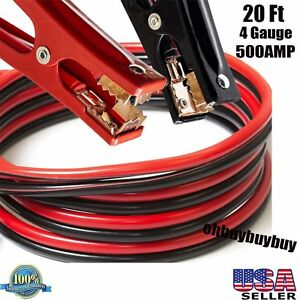 Heavy Duty 20 Ft 4 Gauge Booster Cable Jumping Cables Emergency Power Jumpe