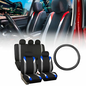 Racing Car Seat Covers For Auto With Leather Steering Wheel Blue Black