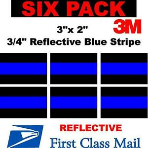 6 Pack 3 X 2 Thin Blue Line Window Decal Police Law Enforcement 3m Reflective
