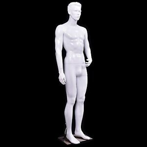 White Male Mannequin Full Body Dress Form Display Plastic Shiny W Base New Us