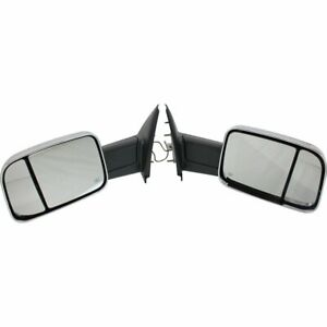 Set Of 2 Power Towing Mirrors Rh Lh For 02 08 Dodge Ram 1500 Truck Manual Fold