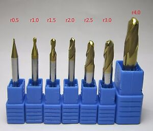7pcs Dia 1mm 8mm Hrc58 Tungsten Carbide Ball Nose End Mill Set Milling Cutter