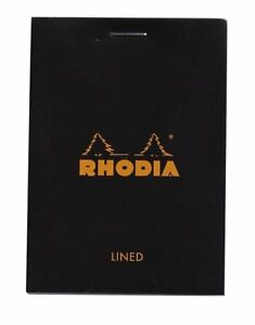 Rhodia Staplebound Notepad Black Lined 80 Sheets 3 X 4 New R116009