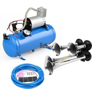 4 Trumpet Train Car Truck Air Horn 12v Compressor 150db hose_tank Gauge Kit Set