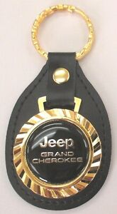 Vintage Jeep Grand Cherokee Royal Classic Gold Type Keyring Leather Key Fob