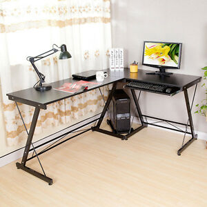 Modern L shape Corner Computer Desk Pc Laptop Table Workstation Home Office Use