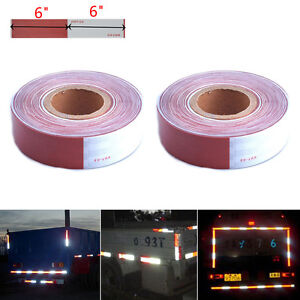 2x Safety 2 x150 Dot c2 Reflective Conspicuity Tape Trailer Truck Red White 6