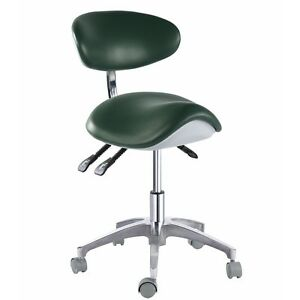 Pu Leather Dentist Saddle Chair Medical Dental Mobile Drs Stool 45 Steel